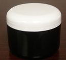 Double Wall Black Polypropylene Jars w/white Dome Lid - 8 oz.