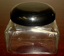 PET Square 8 oz Jar w/Black Lid