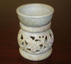 "Soap Stone Oil Burner 3.5"" Round  Assorted Colors S-I 492"
