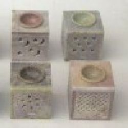 "Soap Stone Oil Burner 3"" Square Assorted Colors 381,454,455,456"