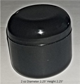 Double Wall Black Polypropylene Jars w/Black Dome Lid - 2 oz.