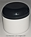 Double Wall Deep White Polypropylene Jars w/Black dome lids - 2 oz.