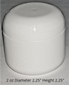 Double Wall White Polypropylene Jars w/white dome lids - 2 oz.
