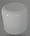 Double Wall Deep White Polypropylene Jars w/white dome lids - 4 oz.