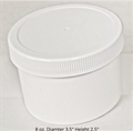 Polypropylene Jars w/white lids - 8 oz.