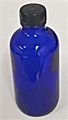 4 oz. Cobalt Blue Bottle includes Black Phenol Cap with Poly Cone Liner 24-400