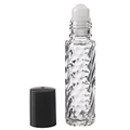 1/3 Ounce Clear Swirl w/Black Cap Roll On Bottles