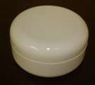 Double Wall Shallow White Polypropylene Jars w/white dome lids - 4 oz.