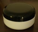 Double Wall Shallow White Polypropylene Jars w/Black dome lid - 4 oz.