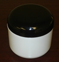 Double Wall Deep White Polypropylene Jars w/Black dome lids - 4 oz.