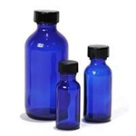 1/2 oz. Cobalt Blue Bottle Includes Black Phenol Cap with Poly Cone Liner