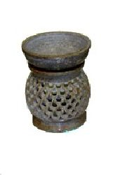 "Soap Stone Oil Burner 4.5"" Round Assorted Colors S-15A"