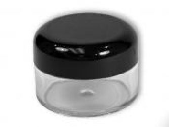 20 Gram Thick Wall Plastic Sample Jar w/Black Dome Lid